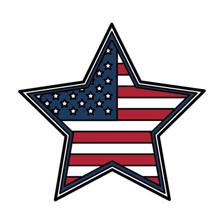 star badge with flag united states usa icon image vector illustration design Illustration