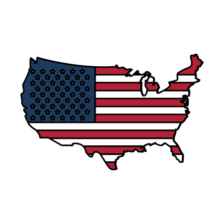country outline flag united states usa icon image vector illustration design