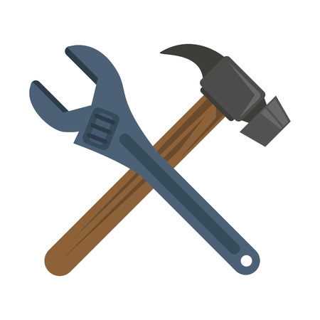 wrench and hammer tools icon image vector illustration design
