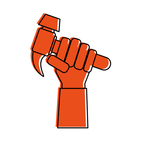 A hand holding hammer tool icon image vector illustration design. Illustration