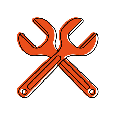 crossed wrench tool icon image vector illustration design