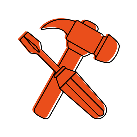 screwdriver and hammer tools icon image vector illustration design Illustration