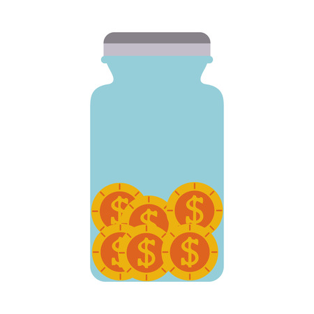coins in jar money icon image vector illustration design