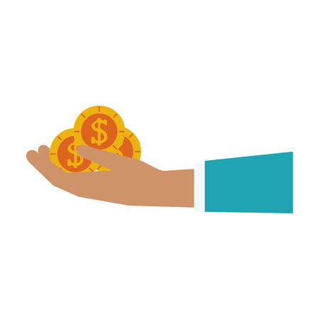 hand holding coin money icon image vector illustration design Illustration