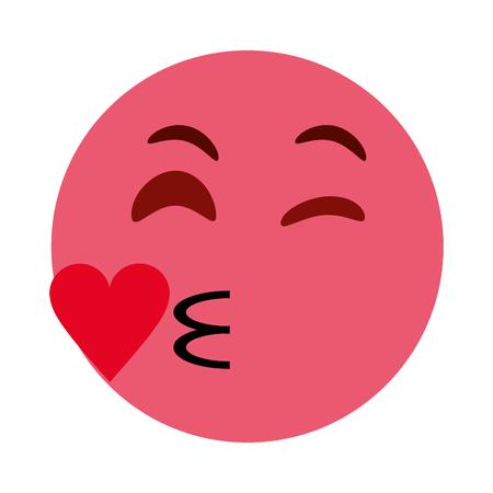 Coqueto corazón beso emoji icono de la imagen ilustración vectorial diseño Foto de archivo - 83820515