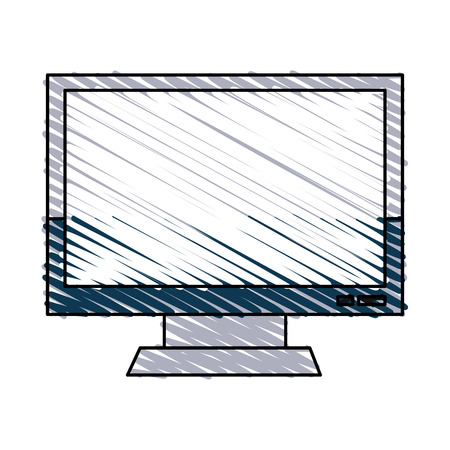 film industry: computer monitor icon image vector illustration design  hand colored style Illustration