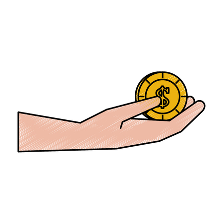 wallet: hand holding coin money icon image vector illustration design  hand colored style