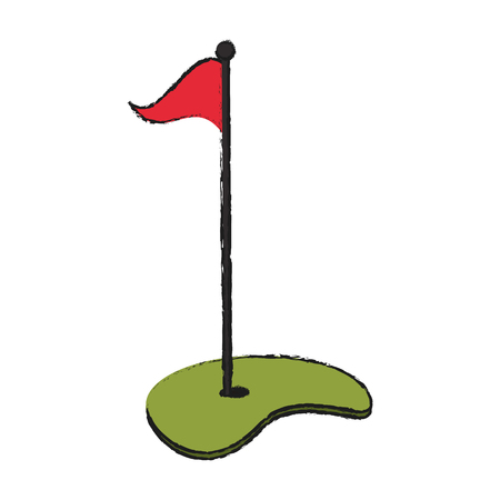 dimple: hole with flag golf icon image vector illustration design Illustration