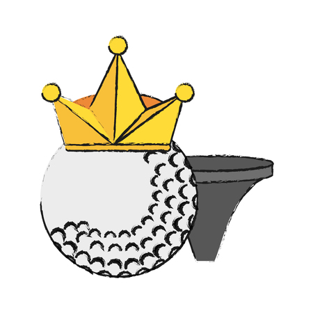 dimple: Golf ball with crown and tee  icon image vector illustration design Illustration