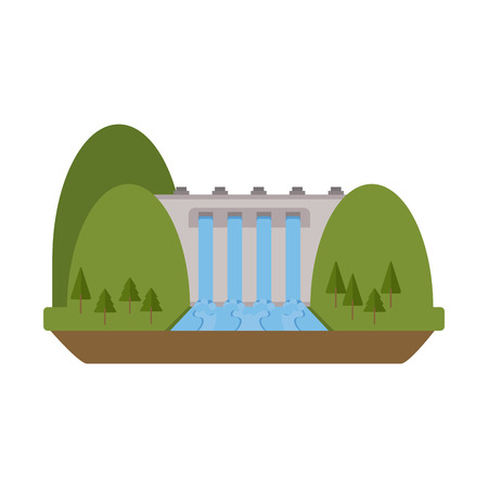 hydroelectricity: hydroelectric plant surrounded by trees icon image vector illustration design