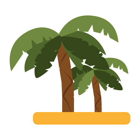 tropical island with palm trees icon image vector illustration design Illustration