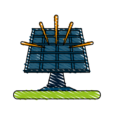 solar panel icon image vector illustration design  sketch style Illustration
