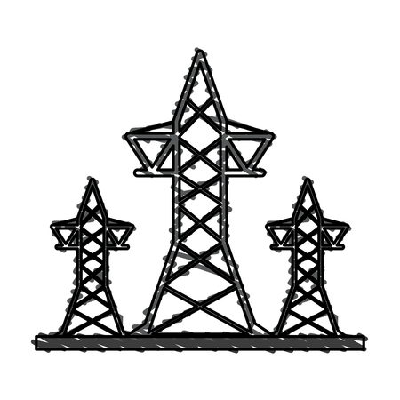 transmission towers icon image vector illustration design  sketch style