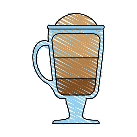 coffee beverage with foam in glass cup icon image vector illustration design  sketch style