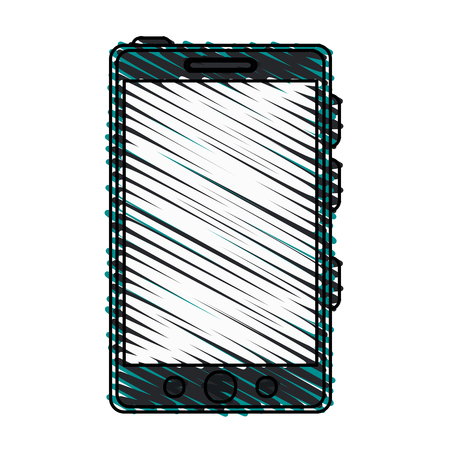screen: smartphone with blank screen icon image vector illustration design  sketch style