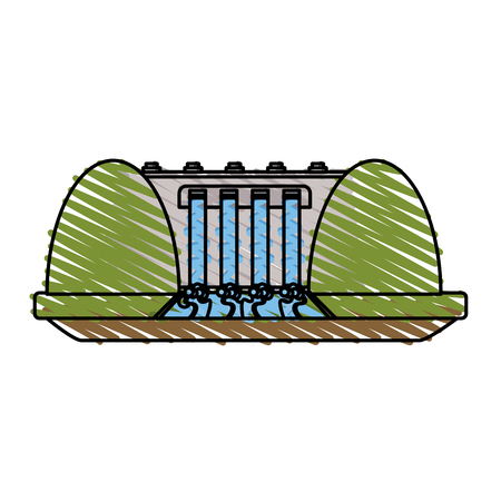 hydroelectric plant surrounded by trees icon image vector illustration design  sketch style