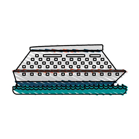 cruise ship sideview icon image vector illustration design  sketch style Illustration