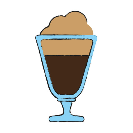 coffee beverage with foam in glass cup icon image vector illustration design