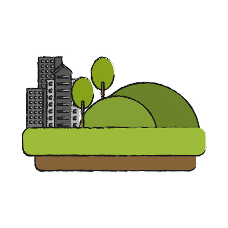 city buildings next to hills grass and trees icon image vector illustration design