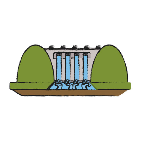 hydroelectric station: hydroelectric plant surrounded by trees icon image vector illustration design
