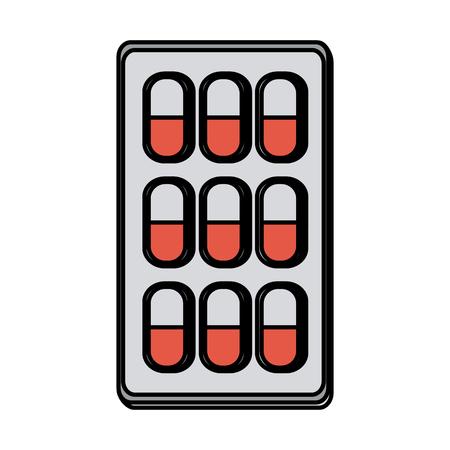 heart disease: Medication pills healthcare icon image vector illustration design Illustration