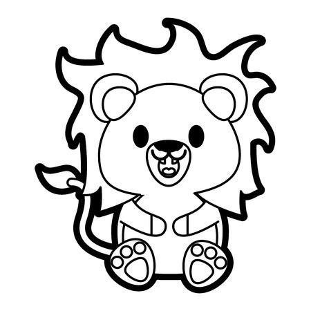 Flat line uncolored lion over white background vector illustration Illustration