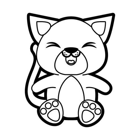 Flat line uncolored  cat over white background vector illustration Illustration