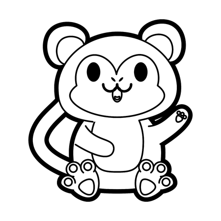 Flat line uncolored monkey over white background vector illustration Illustration