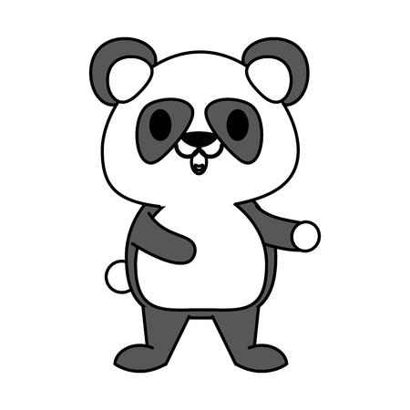 hint: Flat line panda with hint of color over white background vector illustration