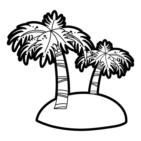 Flat line uncolored palm tree over white background vector illustration