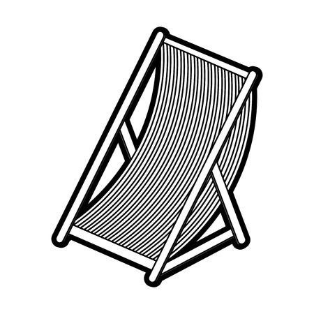 conformity: Flat line uncolored chair over white background vector illustration