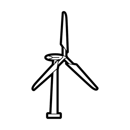 Flat line uncolored wind turbine over white background vector illustration