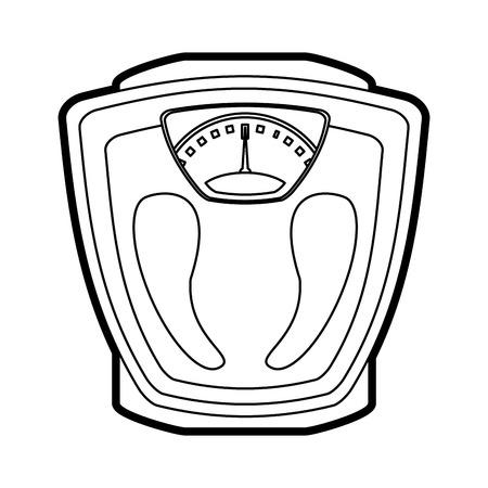 Flat line uncolored scale over white background vector illustration Ilustração