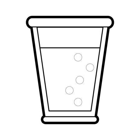 champagne celebration: Flat line uncolored drink glass over white background vector illustration