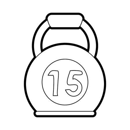 Flat line uncolored kettlebell over white background vector illustration