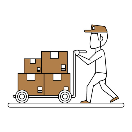post man: Flat line man carrying boxes with hint of color over white background vector illustration