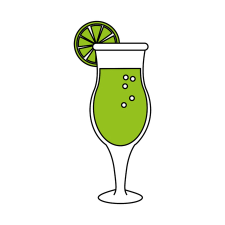 hint: Flat line cocktail with hint of color over white background vector illustration