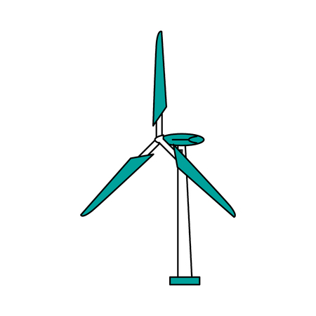 Flat line turbine with hint of color over white background vector illustration