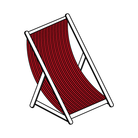 conformity: Flat line beach seat with hint of color over white background vector illustration