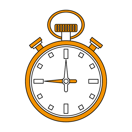 Flat line stopwatch with hint of color over white background vector illustration Illustration