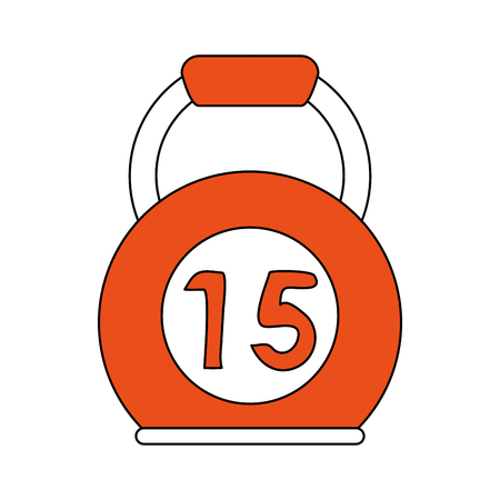 Flat line kettlebell with hint of color over white background vector illustration Illustration