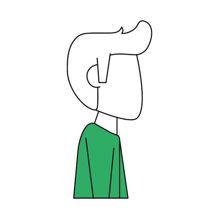 Flat line man avatar with hint of color over white background vector illustration