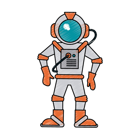 floating: Colorful astronaut doodle over white background vector illustration