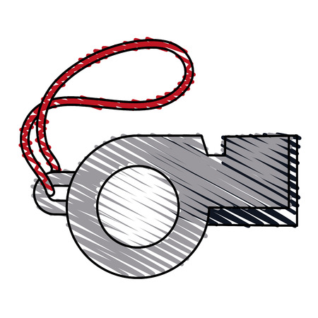Colorful whistle doodle over white background vector illustration