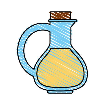 Colorful oil flask doodle over white background vector illustration Ilustracja