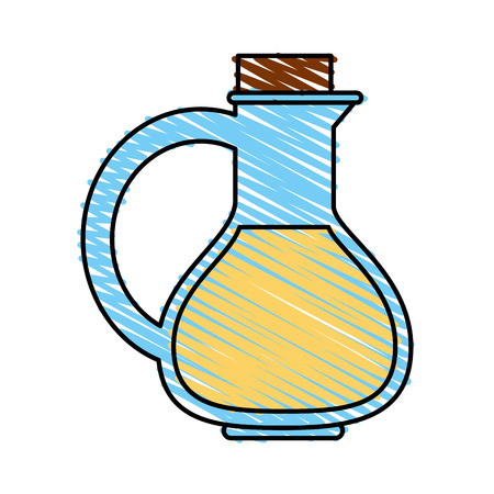 Colorful oil flask doodle over white background vector illustration Illustration
