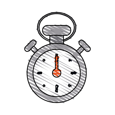Colorful stopwatch doodle over white background vector illustration