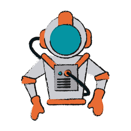 Colorful astronaut avatar doodle over white background vector illustration Illustration