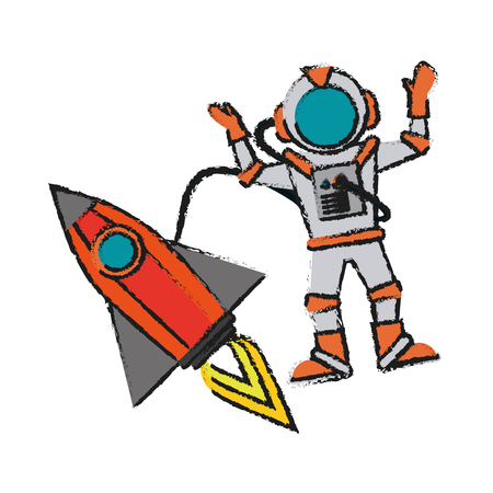 Colorful astronaut and rocket doodle over white background vector illustration