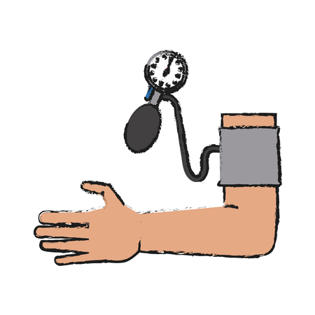 Colorful hand and sphygmomanometer doodle over white background vector illustration
